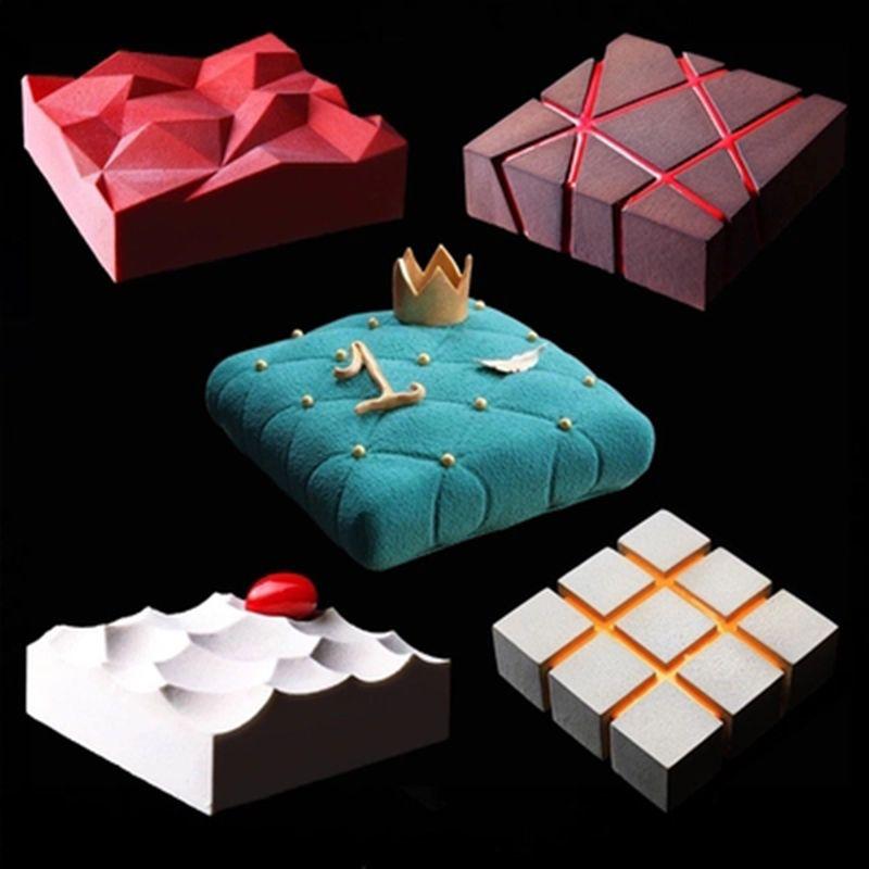 1pc bricolage irrégularité géométrie grand Silicone gâteau moule 3D Pan Silicone moules carré pour gâteau cuisson moules outils de décoration