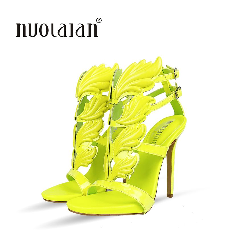 Metallic Winged Gladiator Women Sandals 2018 High Heels Brand Sandals Summer Shoes Woman Sandalias Ladies Party Shoes Pumps