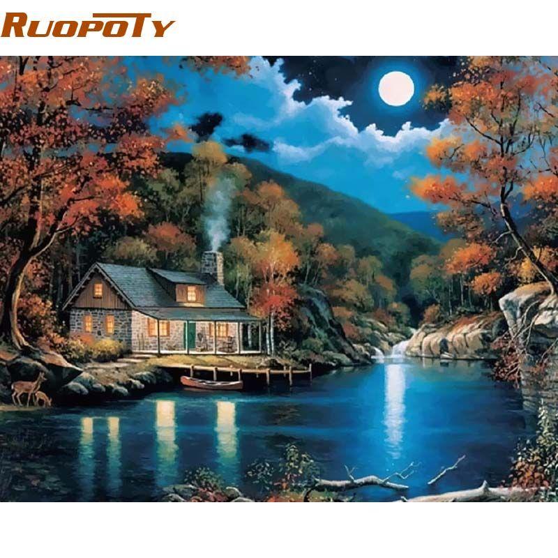 RUOPOTY cadre fantaisie paysage Rural peinture à la main par numéros Kits décor à la maison mur Art dessin peinture par numéros 40x50 cm œuvre