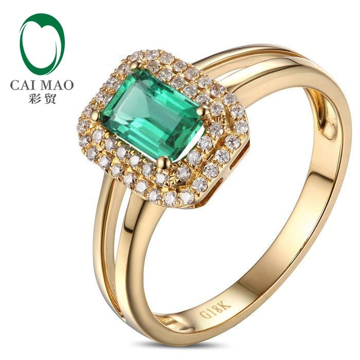 Unplated 14kt Yellow Gold 0.97ctw Colombian Emerald Diamond Engagement Ring Free Shipping