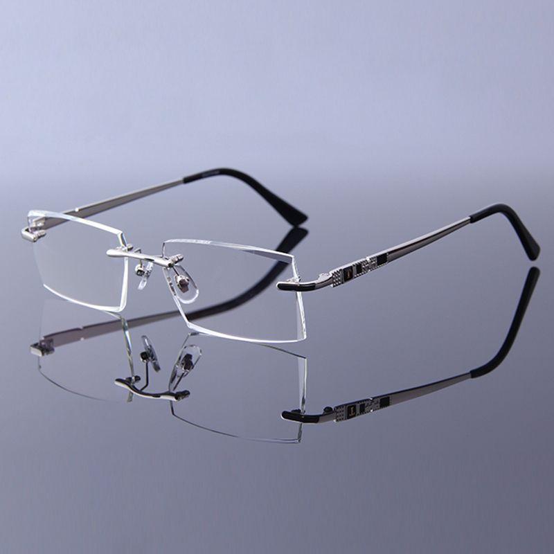 Haute qualité lunettes de lecture hommes sans monture clair loupe lunettes pour mâle presbyte lunettes + 1.0 + 1.5 + 2.0 + 2.5 + 3.0 + 3.5 + 4.0 +