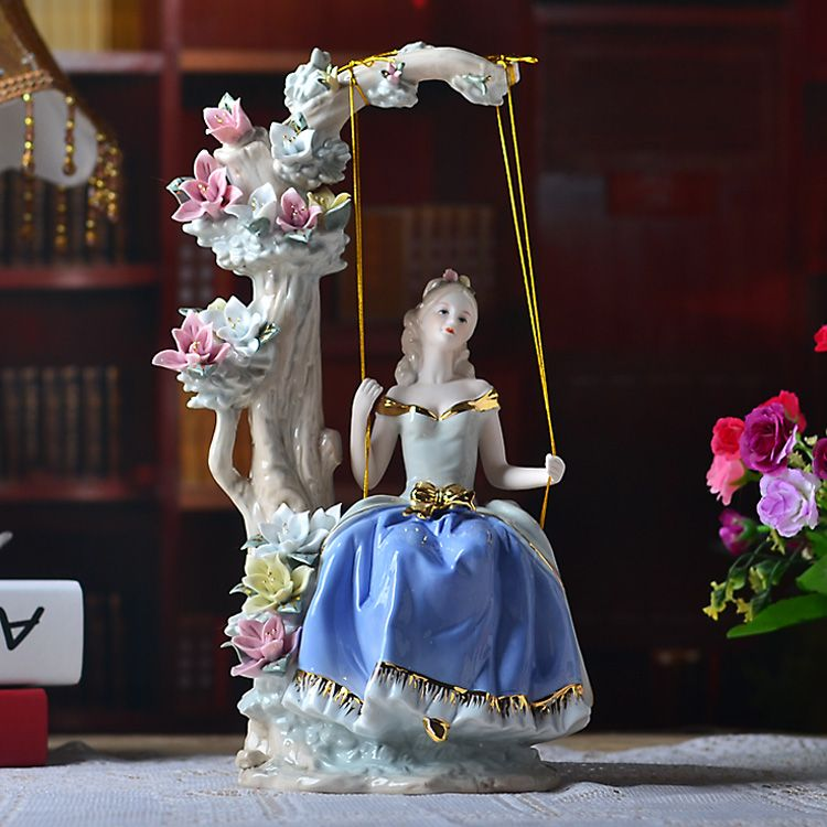 Western Female The girl on the swing Home Decor Ceramic Figurines Art Crafts Coffee Bar Porcelain Ornament Wedding Decoration