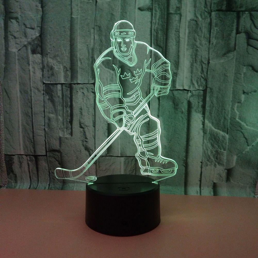 Capteur 3d Night Light Led À Distance Interrupteur Tactile Joueur de Hockey Coloré Usb Acrylique 3d Lampe Bureau Sport Lampe De Noël Décoration