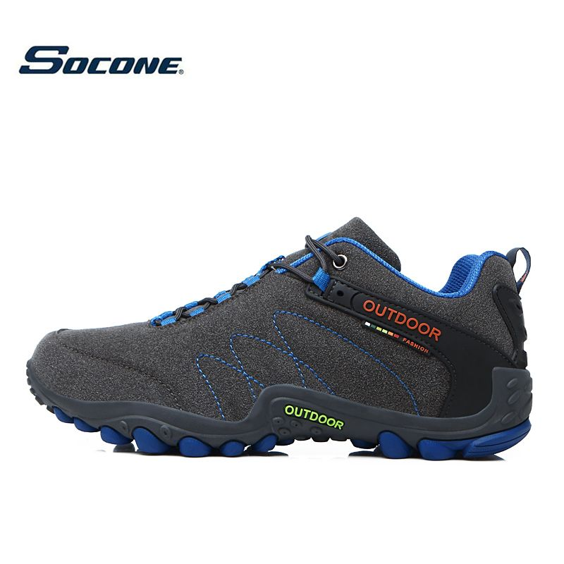 SOCONE Men Hiking Shoes Waterproof leather Shoes Climbing & Fishing Shoes New popular Outdoor shoes