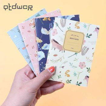 4 шт./компл. милые Мини винтажные Блокноты с цветочным рисунком милые животные блокноты для детей Подарки корейские канцелярские принадлежн...