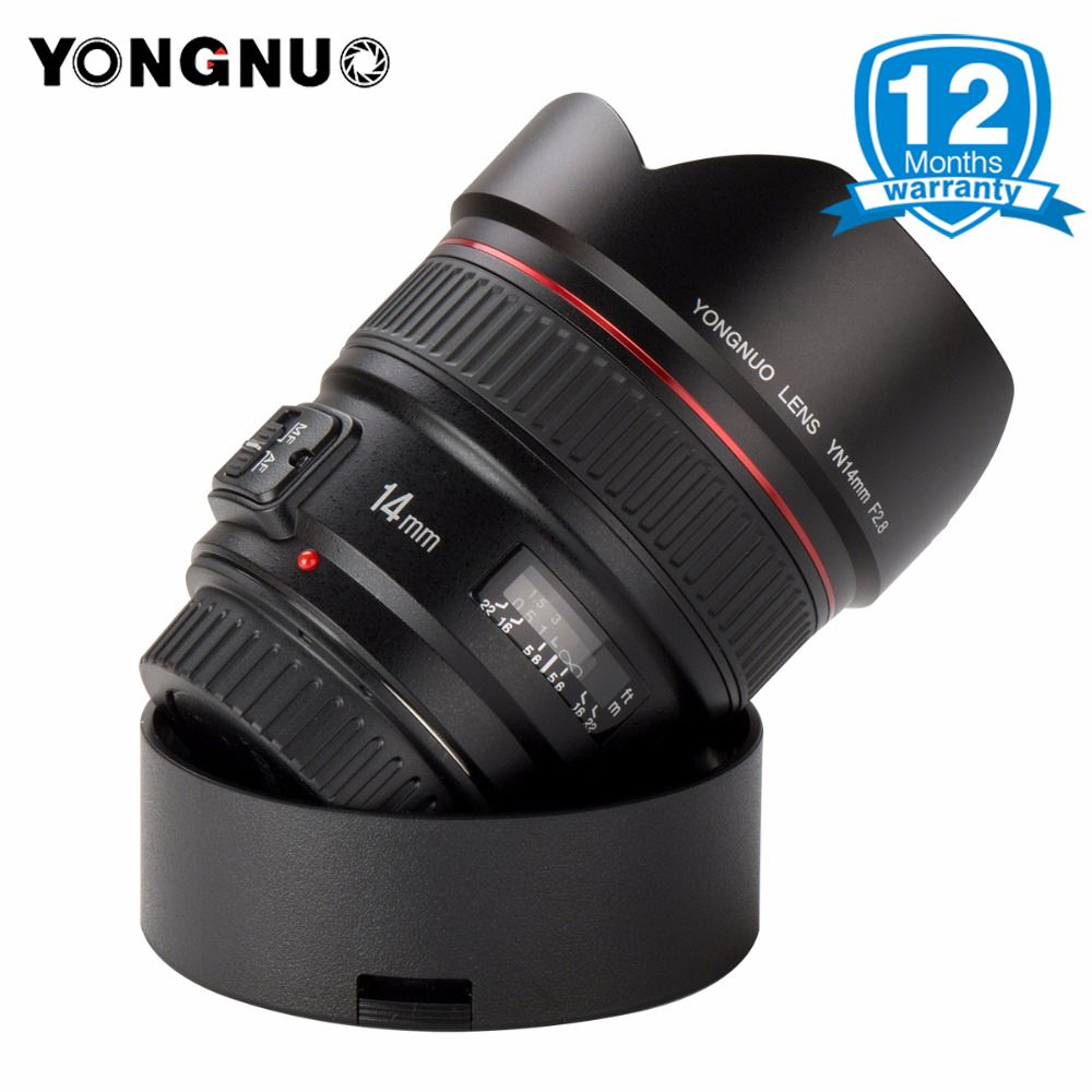 YONGNUO 14mm F2.8 Ultra-wide Angle Prime Lens Auto Focus AF MF Metal Mount YN14mm Lens for Canon 700D 80D 5D Mark III IV