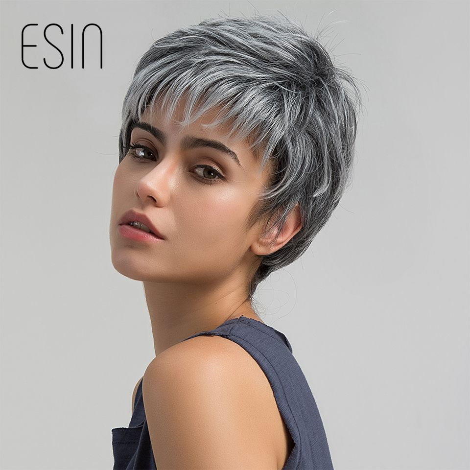 Esin Short Hair Wig Pixie Cut Light Grey Hair Wig Ombre Highlights Side Bangs Synthetic Short Straight Wig For Women 2 Colors