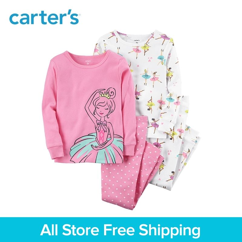 4pcs Ballerina Snug Fit Cotton Pajamas clothing sets Carter's baby children kids Girl Spring & Fall 23241215