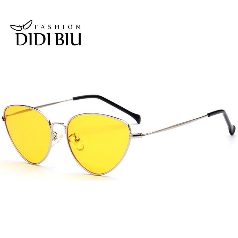 DIDI 6 couleur rose lunettes de soleil femmes oeil de chat Hippie lunettes italiennes marque de luxe mince métal cadre plat jaune lentille grenouille nuances W640