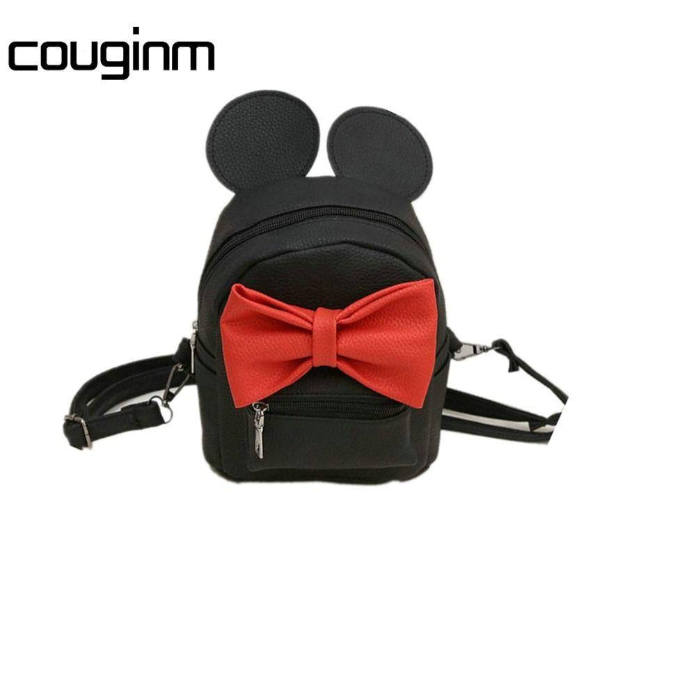 Couginm nuevo mini mochila mujer bolsa de calidad pu mujeres de cuero mochilas versión coreana de orejas bowknot dulce estilo de la Universidad