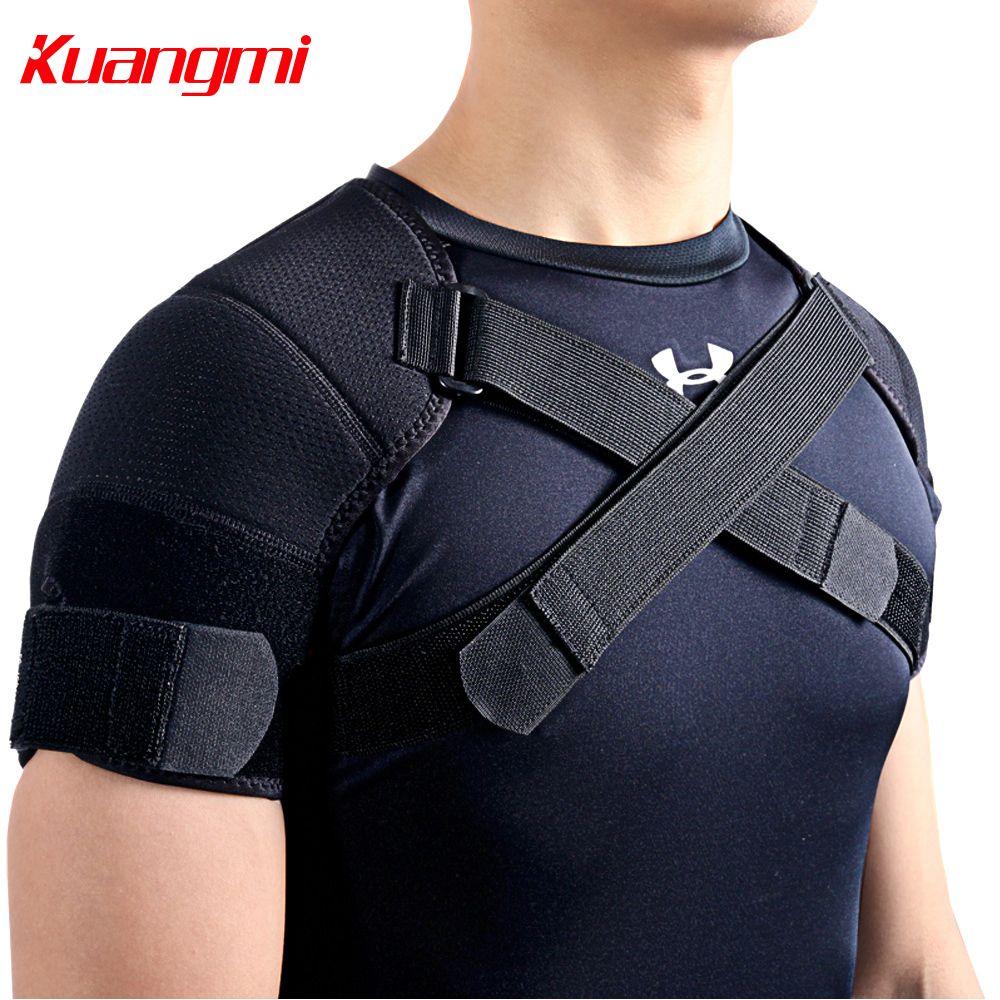 Kuangmi 7K-foam Double Épaule Brace Réglable Sport Support D'épaule Ceinture Back Pain Relief Double Bandage Croix De Compression