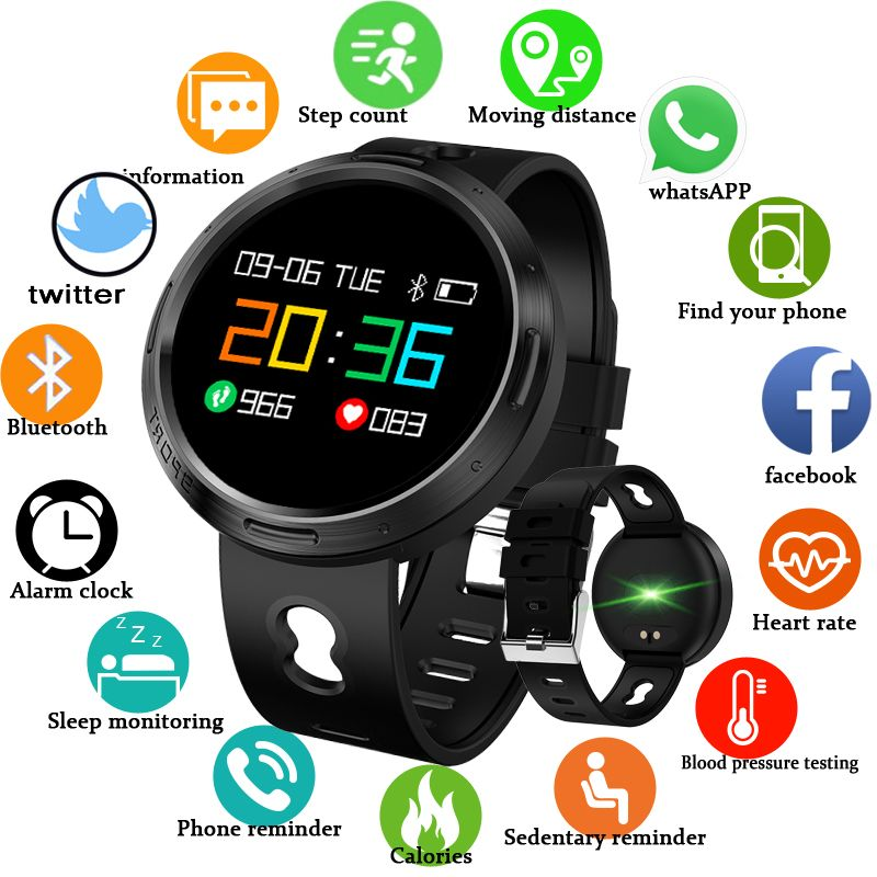 Sport Smart Watch BANGWEI Women Men Waterproof LED Color Screen Heart Rate Blood Pressure Pedometer Bluetooth Smart bracelet+Box