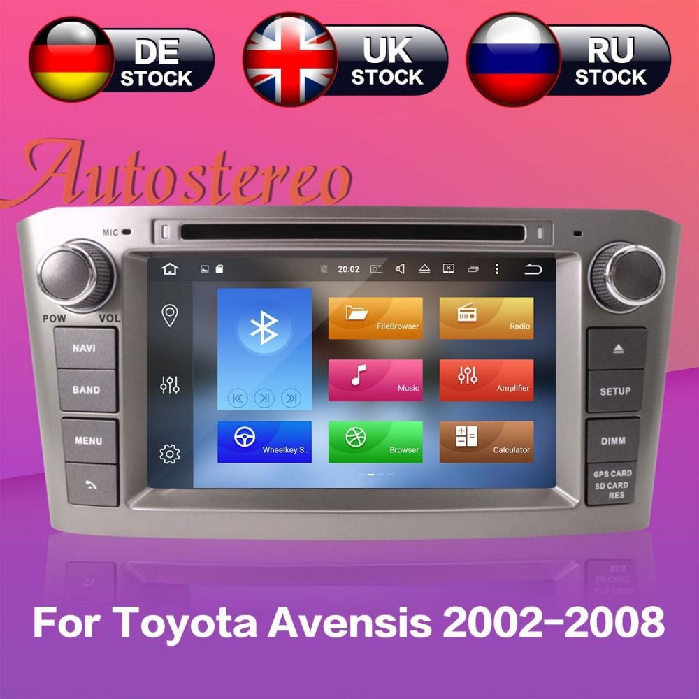 Autostereo Android8 Car DVD Player GPS Navigation For Toyota Avensis 2002-2008 T250 radio multimedia headunit tape recorder