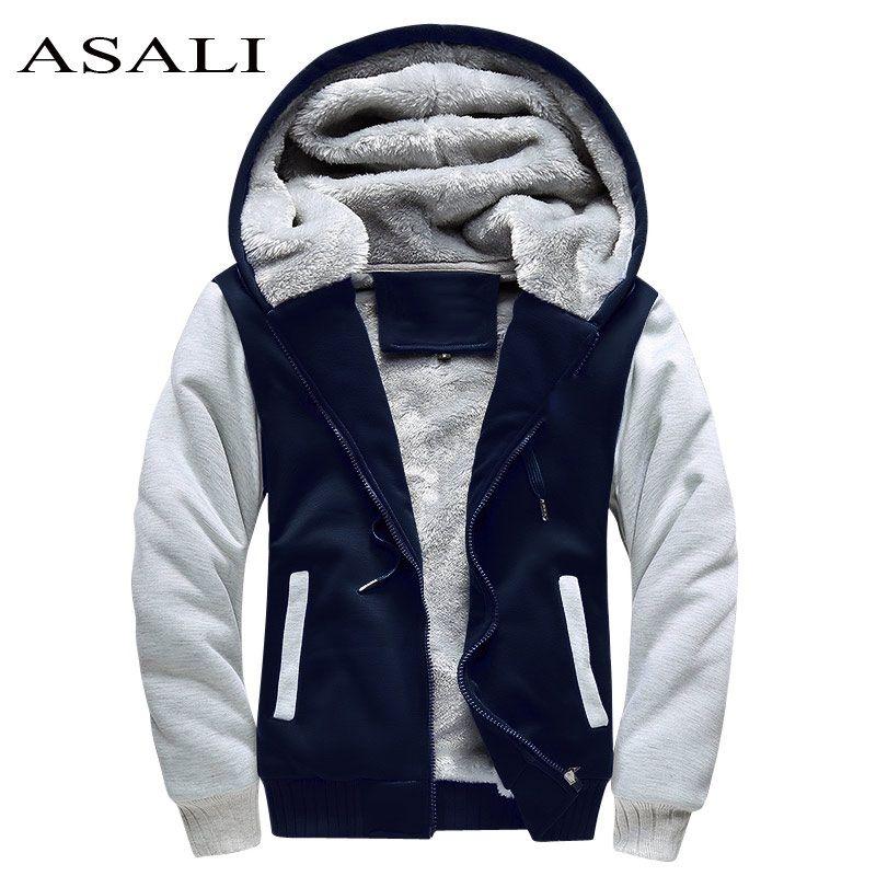 ASALI Bomber <font><b>Jacket</b></font> Men 2018 New Brand Winter Thick Warm Fleece Zipper Coat for Mens SportWear Tracksuit Male European Hoodies