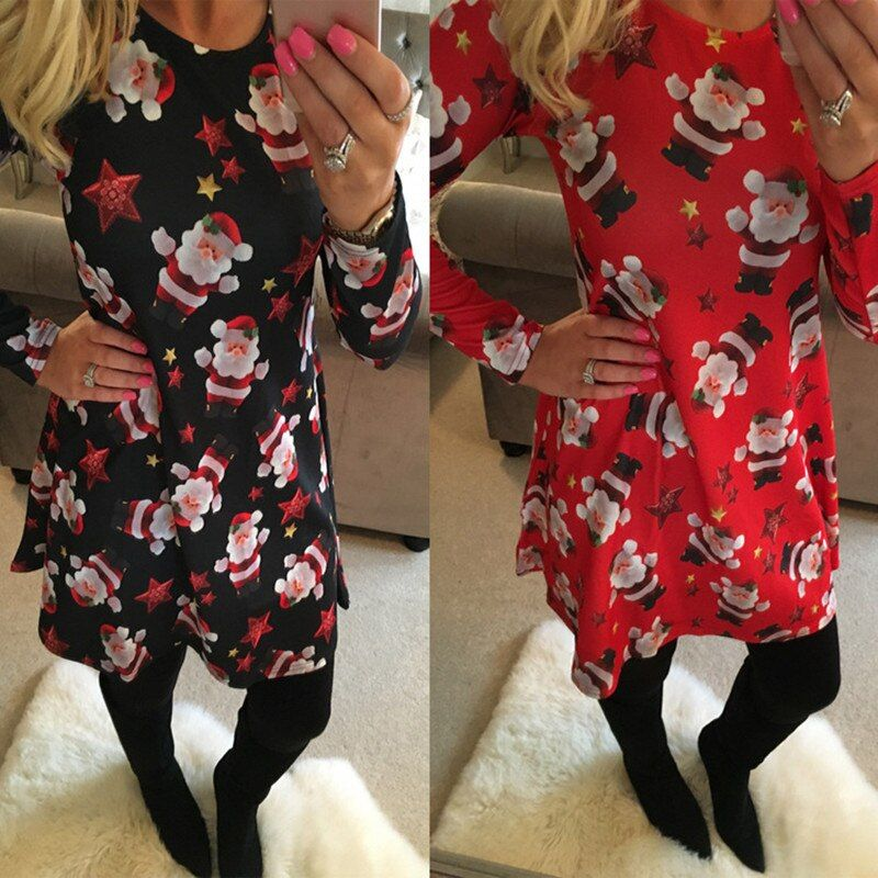 Large Size Print Dress For Women 2018 Autumn New Christmas Cartoon Casual Dresses Long Sleeve Mini Dress Plus Size S-5XL On Sale