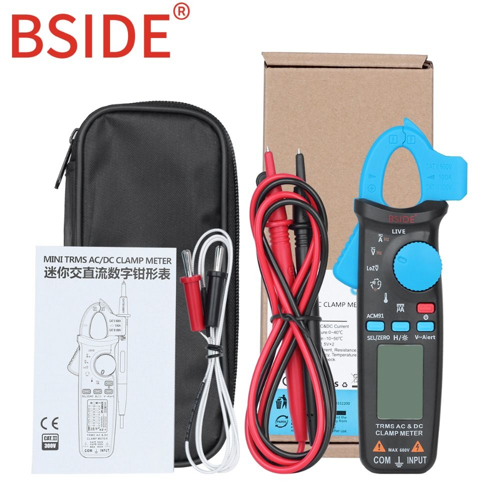 Bside ACM91 Automotive Clamp Meter TrueRMS 6000 Counts DC/AC Current 1mA Resolution Capacitance Temperature Tester with Clip