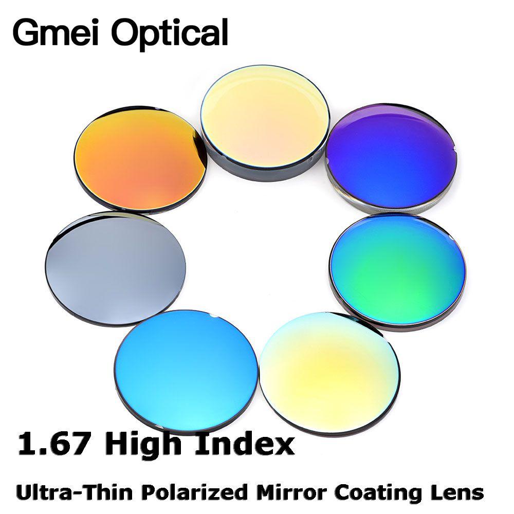 Gmei Optische 1,67 Hoch Index Dünnen Spiegel Beschichtung Polarisierten Gläsern Prescription Optische Sonnenbrille Spiegel finish Coating Linsen