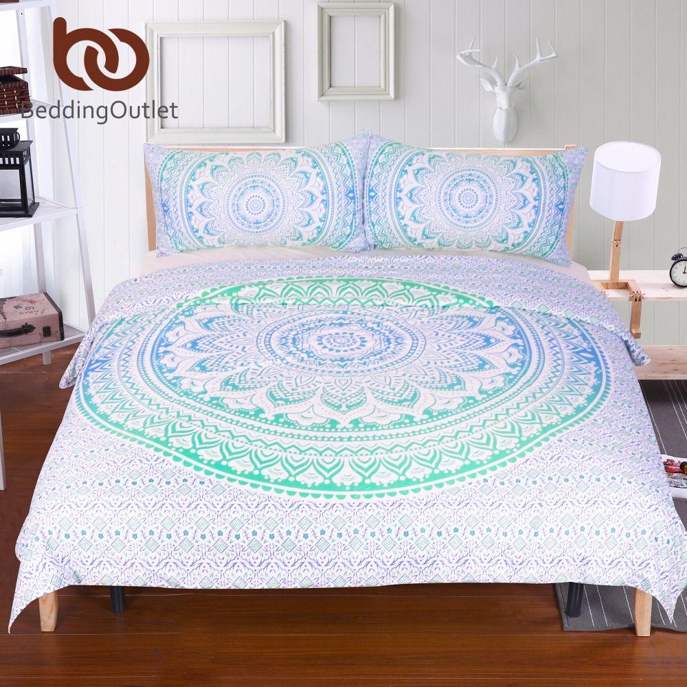 BeddingOutlet Blue and Green Mandala Flower Duvet Cover Set With Pillowcase Bohemia Bedding Set Soft Fresh Quilt Cover Set 3Pcs