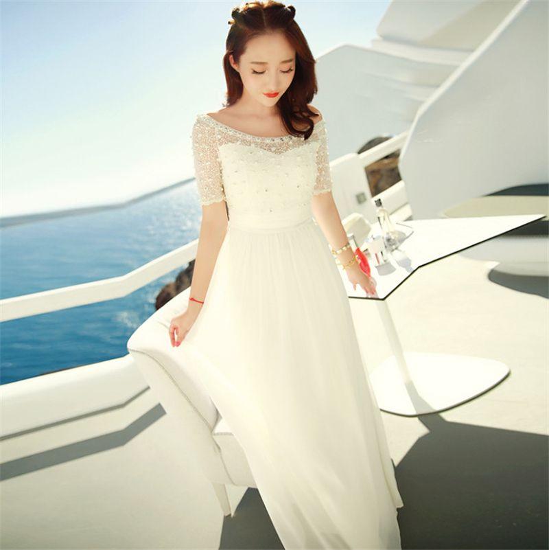 SZMXSS Frauen Bohemian Lange Kleider Strand Weiß Maxi Lange Spitze Sicke Chiffon Stickerei Mesh Fee Kleid Bodenlangen Boot-ausschnitt