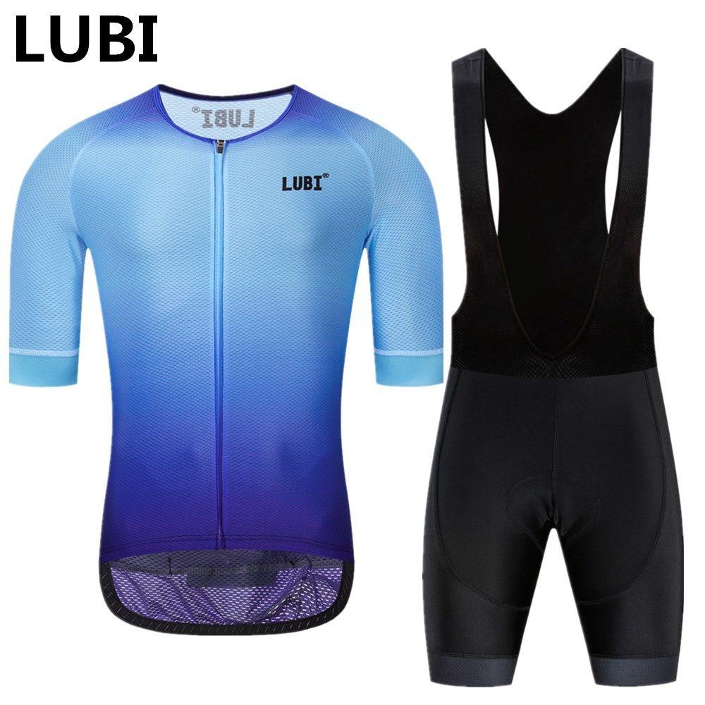 LUBI 2019 Pro équipe hommes été cyclisme Jersey bavoir court ensemble porter haute densité éponge Pad vtt vêtements Kits vélo vêtements route costume