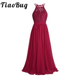 TiaoBug New Girls Lace Chiffon Sleeveless Halter Flower Girl Dress Princess Pageant A-Line Hollow Out Formal Wedding Party Dress