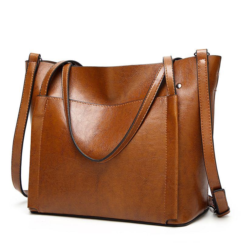 2017 mode Frauen Handtaschen Frauen Schulter Taschen Öl Wachs Leder Große Kapazität Tote Bag Casual Pu Leder umhängetasche