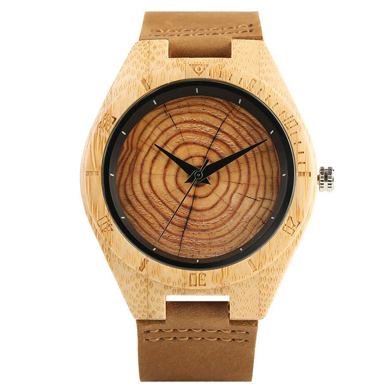 Trendy Stylish Hand-made Quartz Wooden Watches for Men Women Wood Grain Genuine Leather Wristband Clasp Wristwatch