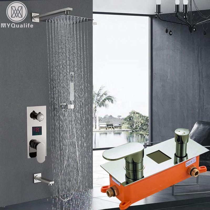 Digitale Dusche Wasserhahn Nickel Gebürstet Brausebatterie System Einzigen Handgriff mit Auslauf Handbrause Temperaturanzeige Mixer Ventil