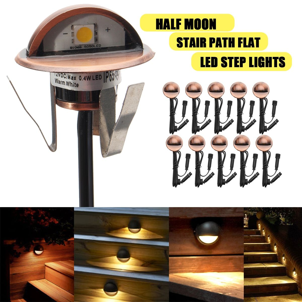 10Pcs 12V Warm Light Garden LED Step Light Outdoor Wall Stair Flat Lamp Half Moon Type Park Path Decorative Night Lamp
