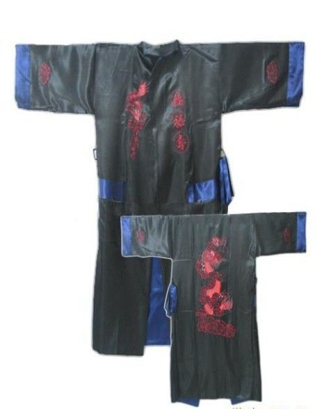 Black Dark Blue Reversible Two-face Chinese Men's Silk Satin Robe Kimono Embroidery Bath Gown Dragon S0006