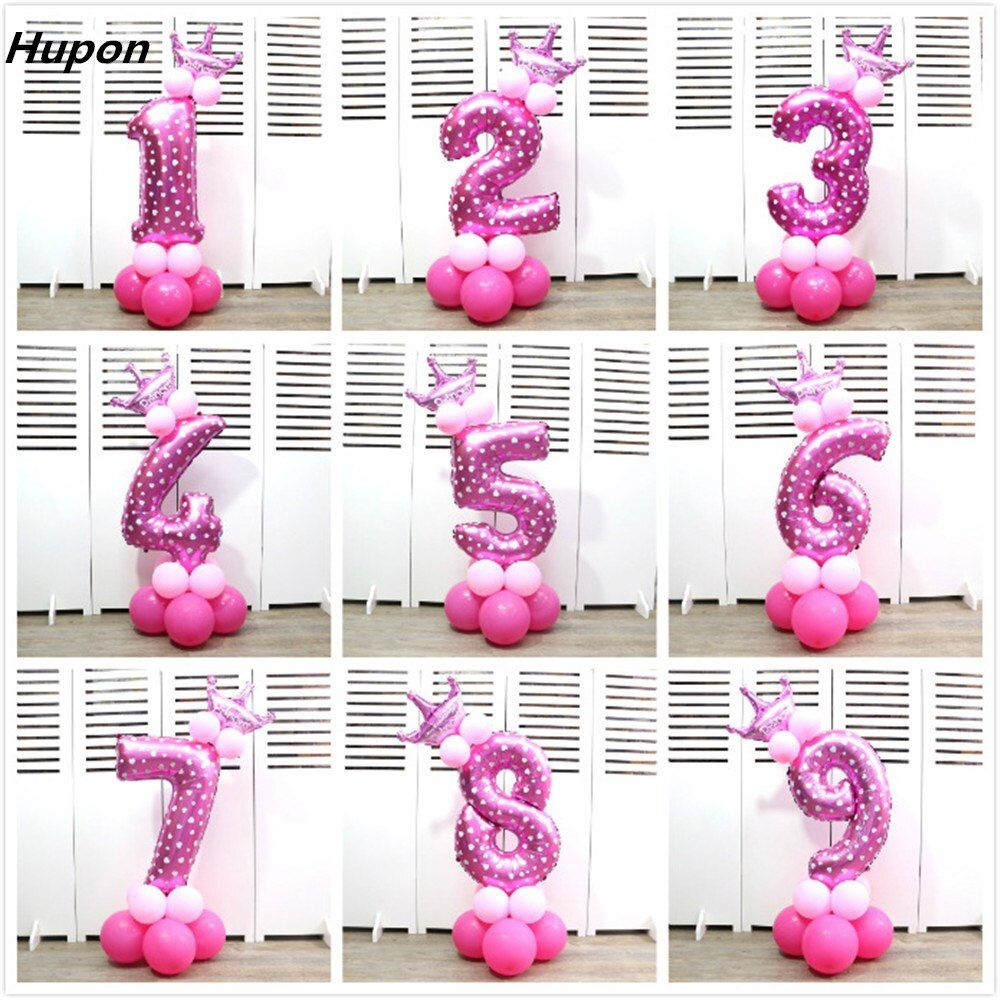 18pcs 40inch Number Baloons Digit Inflatable Helium Foil Ballon Birthday Party Supplies Air Balloon with Crown Baby Shower Decor