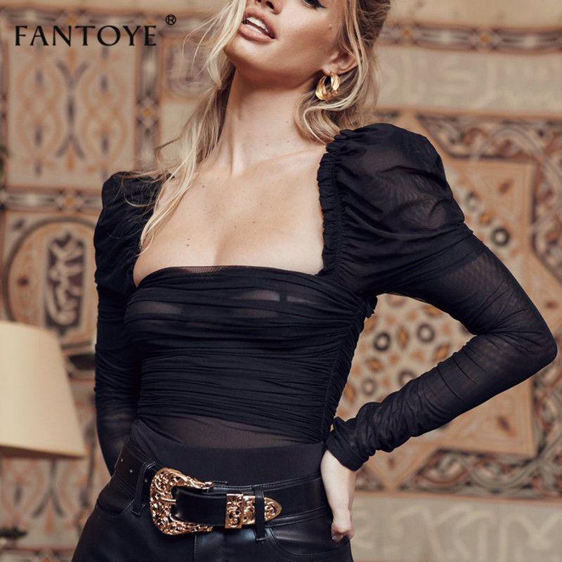Fantoye Sexy noir dentelle bas col body femmes maille couches dos nu volants Slim moulante hauts Femme élégant Vintage salopette