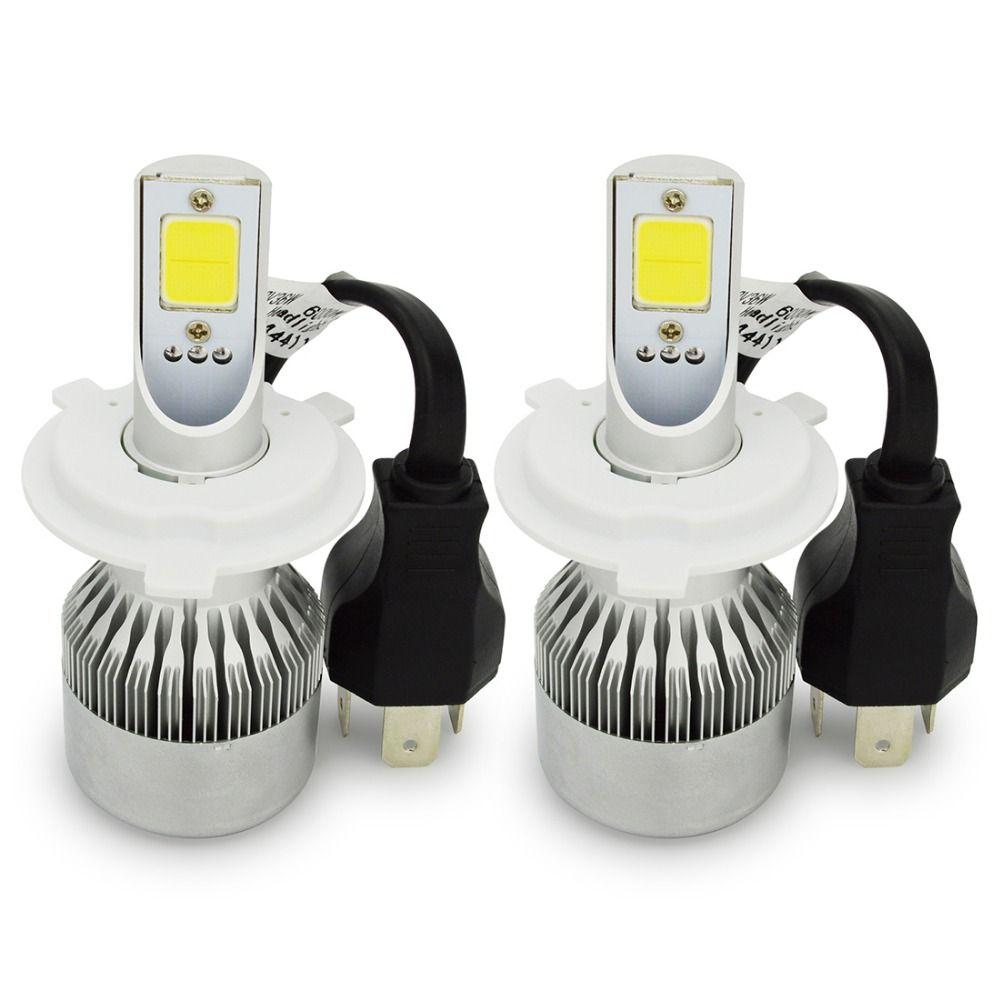 Safego H4 Hi Lo kit de ampoules de phares LED de voiture 72 W double faisceau 7600LM 6000 K phares blanc 6000 K pour feux de voiture antibrouillard