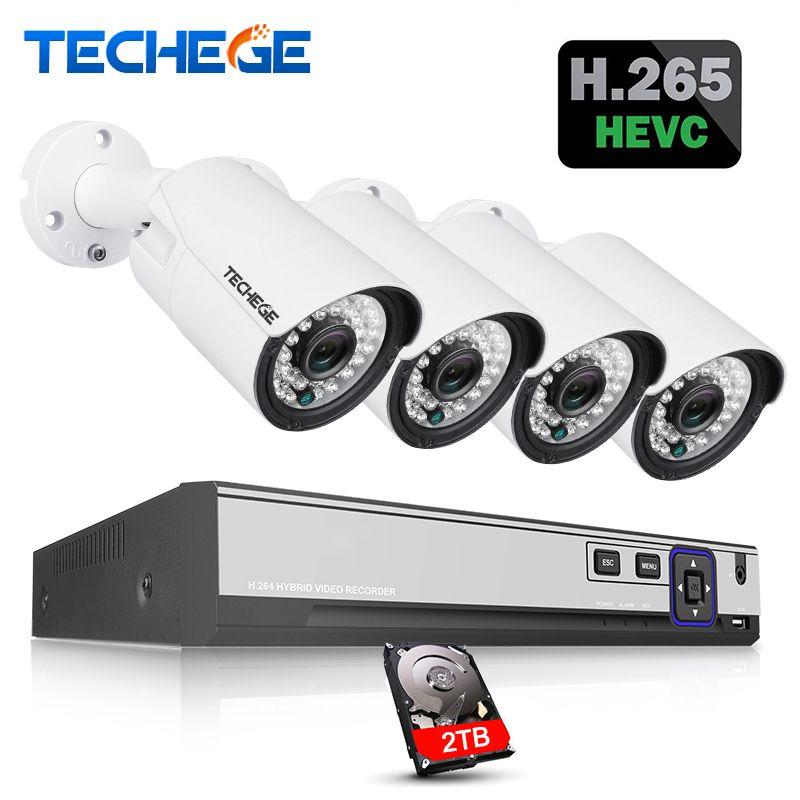 Techege H.265 H.264 5MP 2592*1944 Surveillance CCTV System 48V PoE 4CH NVR Kit 5MP 3MP 2MP Waterproof Outdoor CCTV Camera System