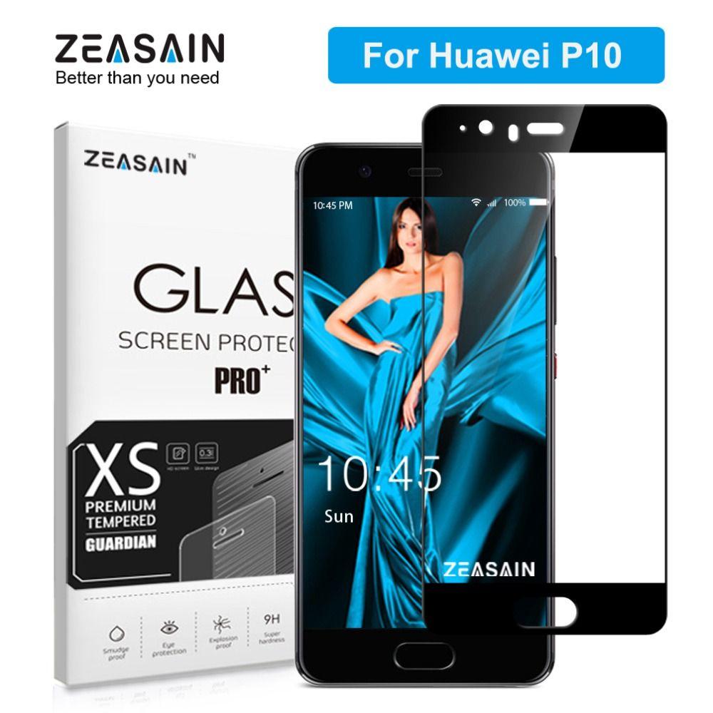 Zeasain cubierta completa de vidrio templado para Huawei P10 p 10 protector de pantalla 5.1 pulgadas 2.5d 9 h dureza Premium glass seguridad Películas