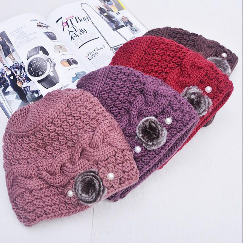 Olderly Fur Flowers Warm Thicken Warm Ms Women's Winter Autumn Spring Thermal Knitted Hats Female Hat For Women knit Caps Beanie