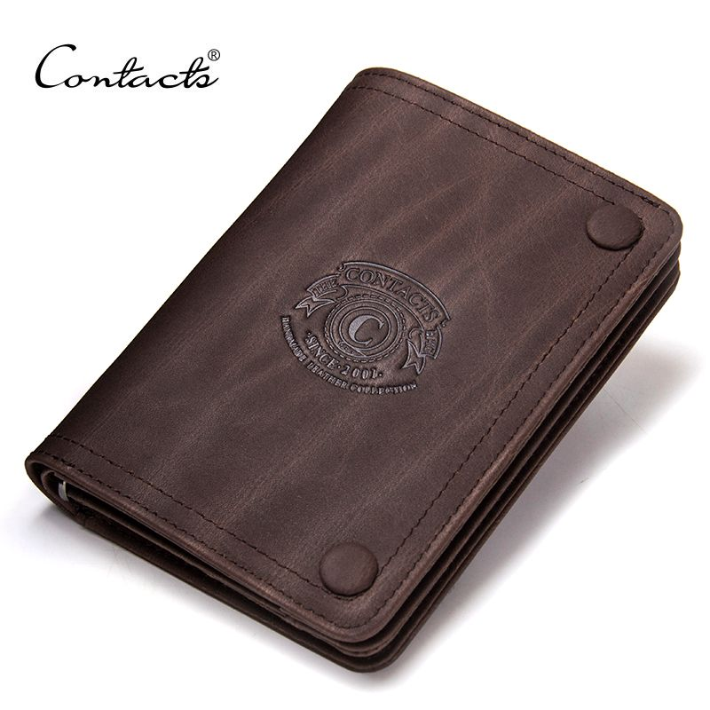 2017 Men Wallets CONTACT'S Brand Design Crazy Horse Cowhide Leather Male Clutch Wallets Coins Purse Photo Holder Card Holders