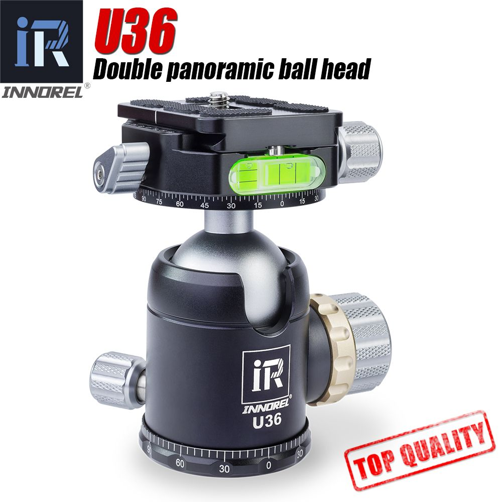 INNOREL U36 36mm Double panoramic ball head with ARCA-SWISS QRP heavy duty 720 degree tripod head for Manfrotto Gitzo 20kg load