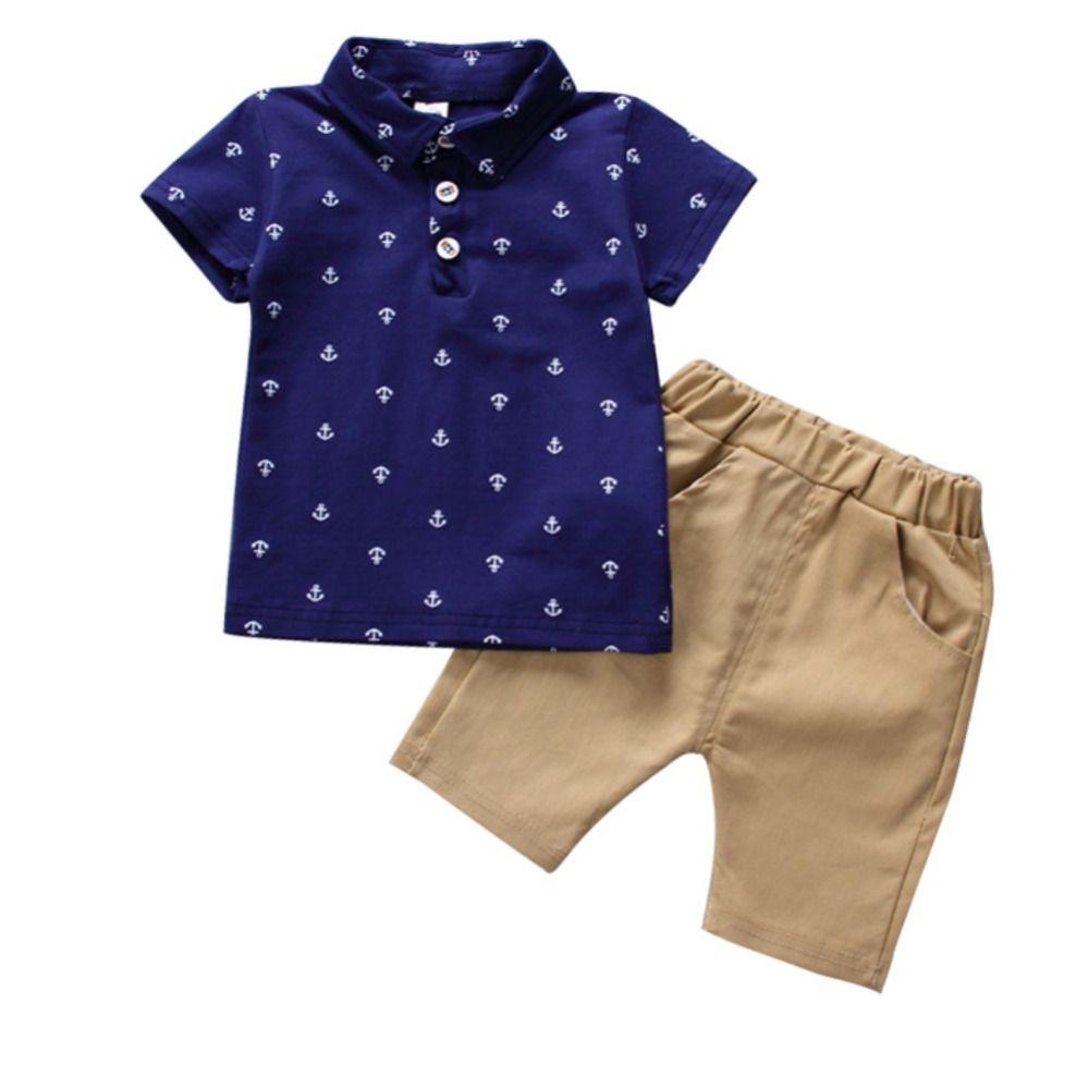 Summer Children\'s Clothing Short-sleeved Lapel T-shirt Tps + Pants Two Sets 6 Months-5T