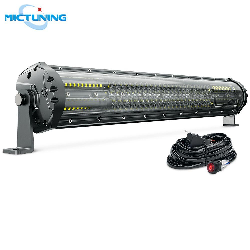 MICTUNING Exklusive M2 Quad Reihe 21 ''Spot Flood LED Work Licht Bar w/Kabelbaum für Offroad Auto lkw Traktor Boot Anhänger