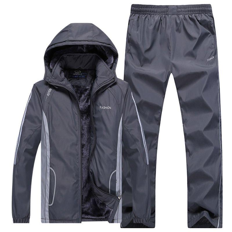 2018 Sport anzug Männer Thermische Sets Winter Training Fleece Warm Halten Trainingsanzug 2018 Europäischen Winddicht Gym Sportswear-Set