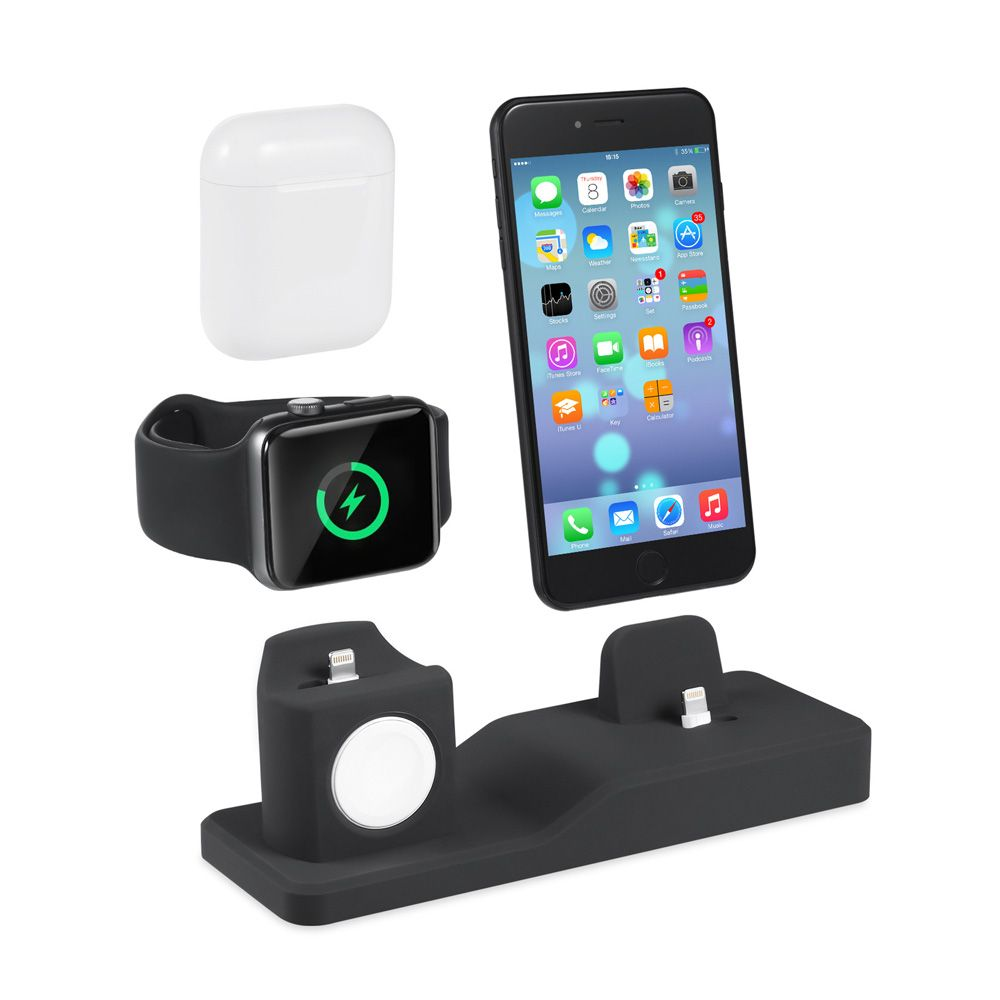 AIYIMA 3 en 1 Station d'accueil de chargement pour iPhone X XR XS Max 8 7 6 Apple Watch Airpods support de chargeur iWatch support de montage Station d'accueil