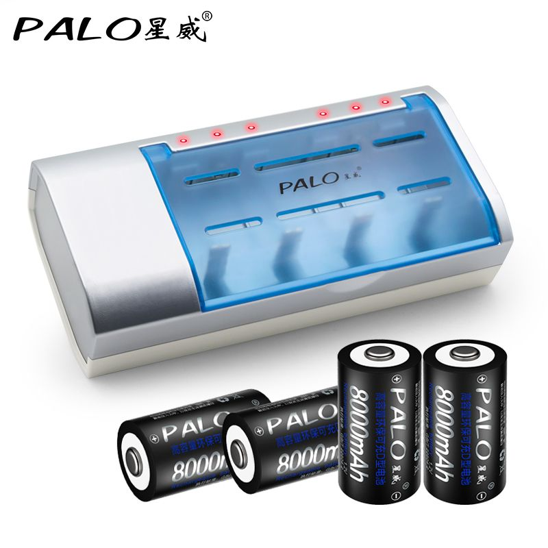 PALO 4 Fentes Batterie Chargeur Rapide De Charge Nimh Nicd lithium AA AAA 6F22 Piles Rechargeables 4 pièces 8000 mAh D Taille Batterie