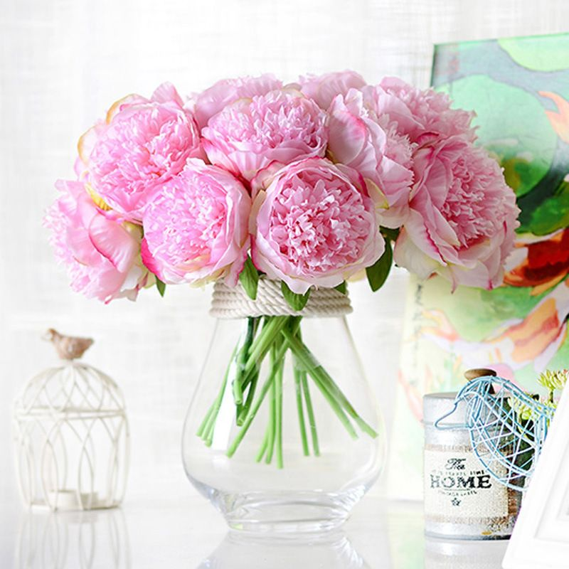 Silk flower wedding bouquet peony dahlias Artificial flowers fall vivid fake wedding flower bridal bouquets decoration