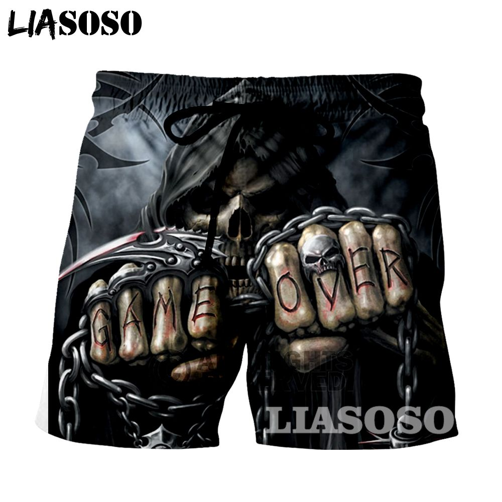 LIASOSO New fashion Summer Men Beach Shorts 3D Print Skull grim Reaper Men's Boardshorts Trousers hot style GRIM11