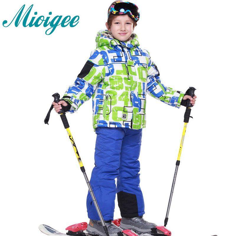 Mioigee sport Ensembles de costume pour un garçon Enfants 2018 hiver ski costume bébé garçons enfants vêtements veste manteau + ski pantalon sport costume