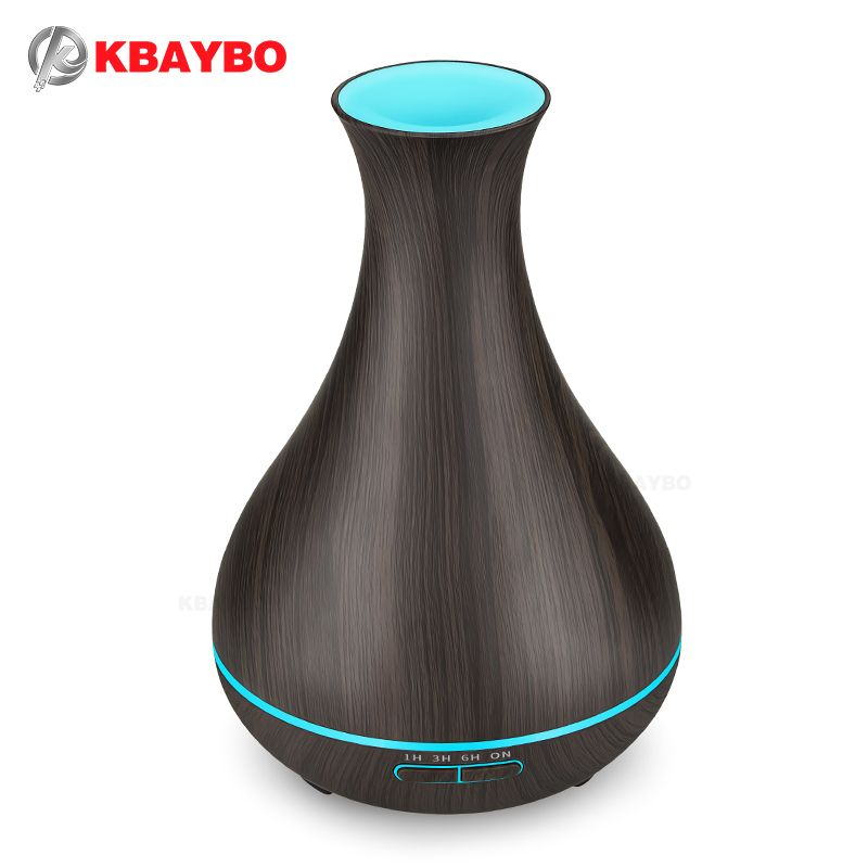 KBAYBO 400ml Aroma Essential Oil Diffuser Electric Wood Grain Ultrasonic Cool Mist Humidifier for Office Home Bedroom LivingRoom