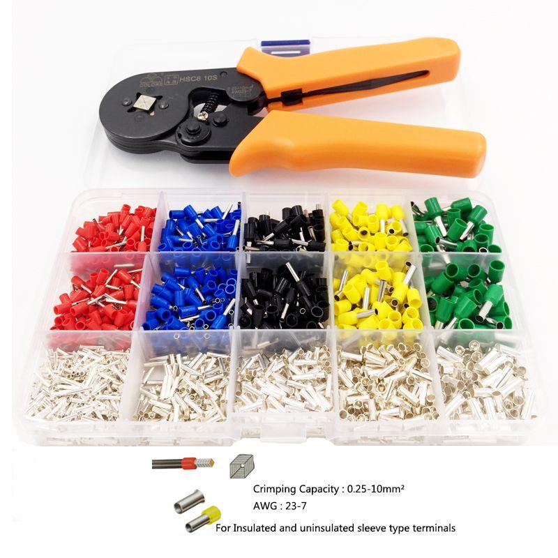 Pince à sertir auto-réglable + bornes à sertir définit des bornes de Tube de câble de AWG24-10 pinces à sertir multi-outils à main