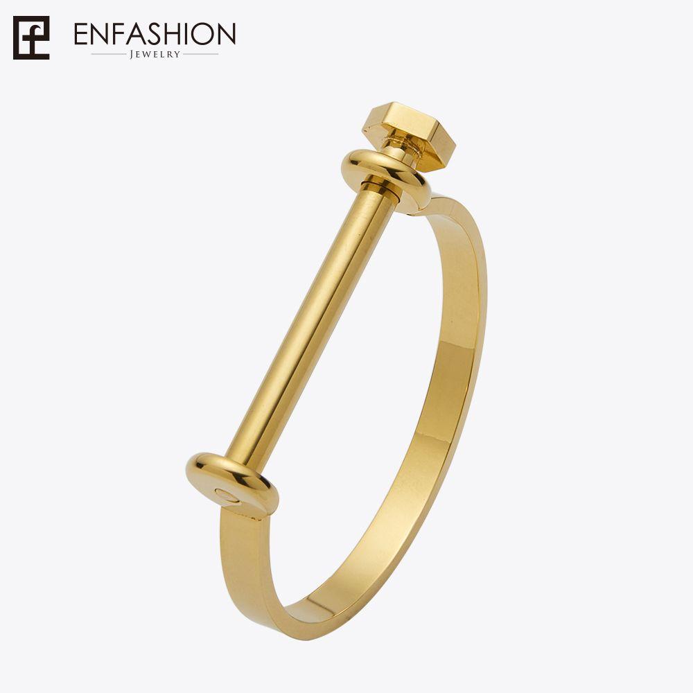 Enfashion Manille U Bracelet Manchette Internode brassard Or Couleur Vis Bracelet Bracelet Pour Les Femmes Bracelets Manchette Bracelets