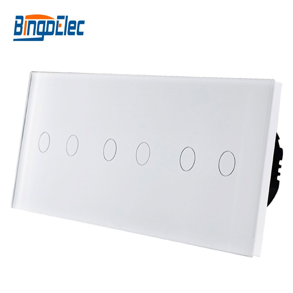 EU type switch, 6gang touch wall light smart switch, Free combination, AC110-250V Hot Sale